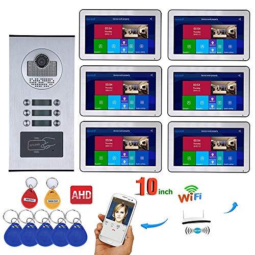 Timbre de puerta con vídeo wifi, monitor de 10 pulgadas y cámara de visión nocturna RFID, con cable, sistema de intercomunicador para iOS y Android