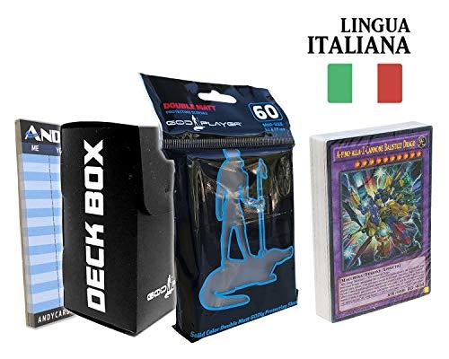 Andycards Structure Deck Seto Kaiba - Mazzo Yugioh SDKS in Italiano + 60 Bustine Protettive God-Player Nere + Deck Box Nero + Segnapunti