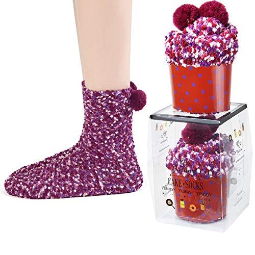 JARSEEN 2 Caja Regalo Navidad Calcetines Dia de san Valentin Super Suaves Cómodos Calentar Mujer DIY (2 Morado, EU 36-42)