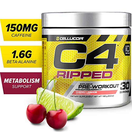 C4 Ripped Pre Workout Powder Cherry Limeade | Creatine Free + Sugar Free Preworkout Energy...