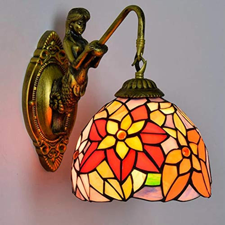 SXFYWYM Wandlampe Retro Stained Glass Idyllic für Schlafzimmer-Dining Hallway Korridor Bar Dekorationsbeleuchtung,onehead,26x20cm