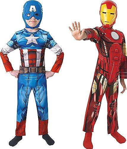 Rubie's-déguiseHommest officiel - Marvel- DéguiseHommest Pour Enfant  Bi Pack  Avengers Assemble  Captain America + Iron Man - Taille M- 154992M