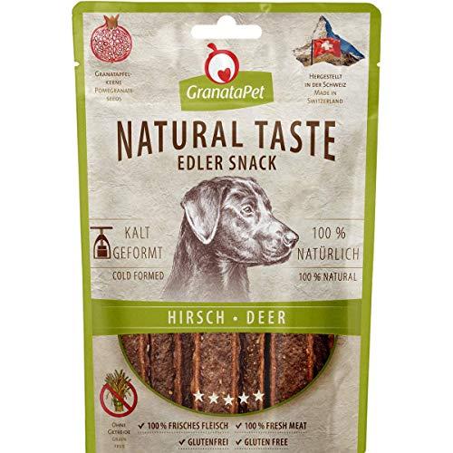 GranataPet Natural Taste Edler Snack Hirsch, Hundeleckerli ohne Getreide & ohne Zuckerzusätze, Belohnung für zwischendurch, schmackhafter Hundesnack, 90 g