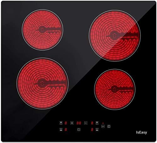 Glaskeramikkochfeld, IsEasy Keramikkochfeld, 6000W, 59cm, 4 Kochzonen, Verdrahtung, Einbau Elektro Autark Rahmenlos, Keramisches Kochfelder, 9 Heizstufen, Touch-Steuerung