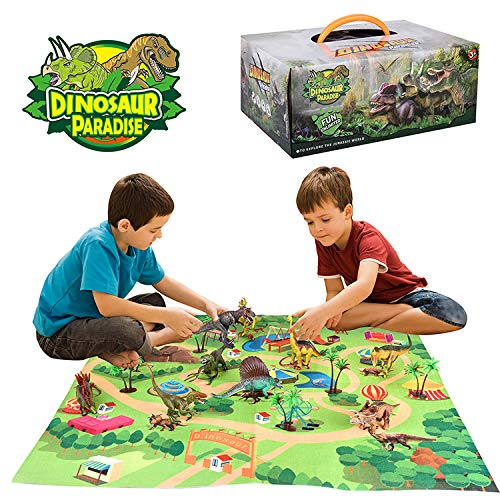 TECHVIA Dinosaur Toy Figure with Activity Play Mat & Trees, Educational Realistic Dinosaur Play-set to Create a Dino World Including T-Rex, Triceratops, Velociraptor, for Kids, Boys & Girls