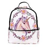 TIZORAX - Mochila de unicornio en guirnalda de flores para ordenador portátil,...