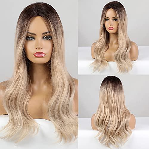 HAIRCUBE Parrucche ondulate lunghe Parrucche bionde Parrucche sintetiche per capelli per le donne Parrucche naturali ricci per l'uso quotidiano