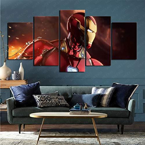 mmkow Stampa Immagine incorniciata 5 Pezzi di Fumetti Iron Man Immagine Foto Home Room Decorazione Domestica 80x150 cm (Incorniciato)