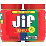 Jif Creamy Peanut Butter, 40 Ounces (Pack of 2), 7g (7% DV) of Protein Per Serving, Smooth, Creamy Texture, No Stir Peanut Butter
