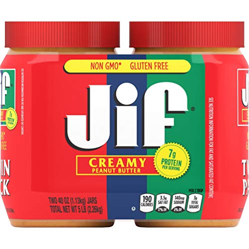 Jif Creamy Peanut Butter, 40 Ounces (Pack of 2), 7g (7% DV) of Protein per Serving, Smooth, Creamy...