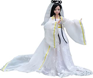 """Kylin Express Beautiful Chinese Style Handmade Ancient Costume Dress for 11.8"""" Doll White"""