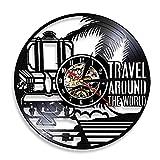 Eld 30cm Viaje Alrededor del Mundo Reloj de Pared temático World Wide Tours Reloj con Disco de Vinilo Turismo Personalizado Reloj Vintage de 12'con 7 Colores Cambia Amigo Regalos Lámpara Luces