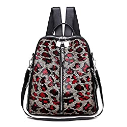 Red Mini Small Backpack Sequin Texture Leopard Patternv
