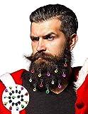 FINGOOO Christmas Beard Ornaments,Colorful Mini Jingle Bells for Christmas Facial Ornament,12 Pieces