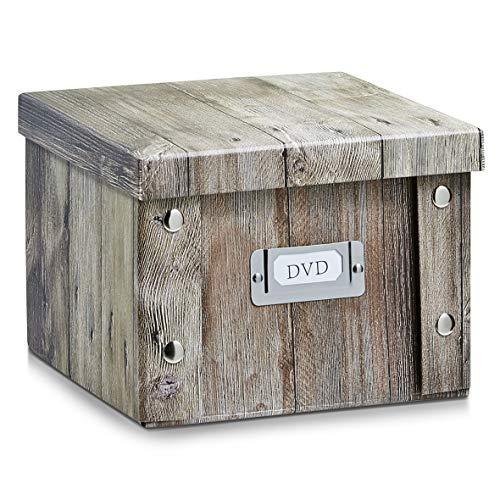 2x Zeller Aufbewahrungsbox aus Pappe, Wood, für bis zu 26 DVD\'s, Aufbewahrungskiste