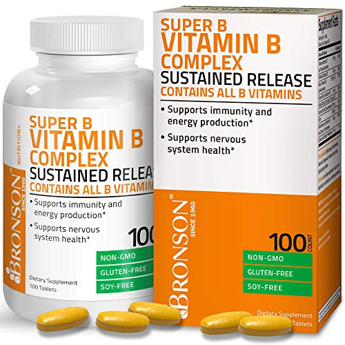 Bronson Vitamin B Complex Sustained Slow Release (Vitamin B1, B2, B3, B6, B9 - Folic Acid, B12), Non-GMO, Gluten Free, Soy Free, 100 Tablets