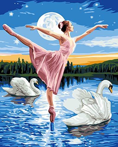 VIKMARI Dipingere con i numeri Kit per adulti Principiante 16 x 20 pollici Pittura fai da te con i numeri Kit Swan Dance Kit pittura a olio fai da te Wall Art