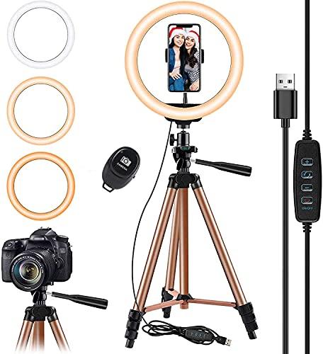 10.2 pulgadas Selfie Anillo de luz con Eocean trípode de 50 pulgadas para YouTube / Transmisión en vivo / maquillaje, Mini cámara de...