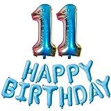 DIWULI número, XXL Globo número de Colores Azul 11 + Feliz cumpleaños Globo Azul, Papel de Globos Globos de cumpleaños ID Nº años, Globos de la Fiesta de cumpleaños de la película 11 decoración