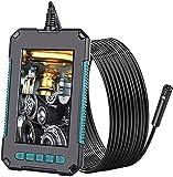 YYHAD Endoscopio, Cámara de Inspección de Doble Lente 4.3''Pantalla 1080P Digital Boroscopio Cámara 8Mm Impermeable Boroscopio con 8 Luces LED, Batería 2600Mah, Cable Semirrígido, 2M,Boroscopio