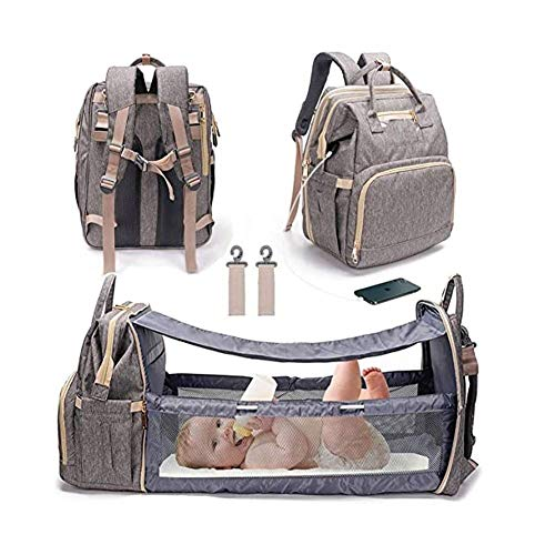 Denise Lamb Multifunctional Baby Travel Cot,Portable Diaper Changing Station Mummy Bag Backpack,Foldable Baby Cot Bed,Bassinets for Baby,Convertible Lightweight Baby Diaper Bag Crib (Color : Gray)