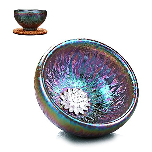 Mkuha Bol à thé en céramique-incrusté d'ornements en Argent Pur-adopte la Technologie Traditionnelle Chinoise 65ML-Multicolore, Fleur