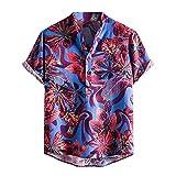Camisa de verano de manga corta para hombre, camiseta estampada, camiseta ajustada, parte superior de algodón y lino, manga corta azul L