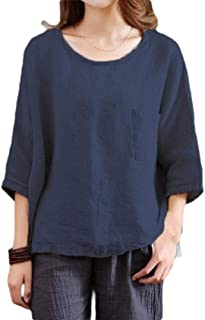 UUYUK Women Loose Fit Sleeve 3/4 Casual Cotton O-Neck Linen Tops Blouse Shirts
