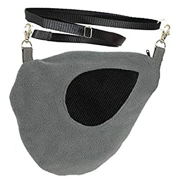 Exotic Nutrition Teardrop Carry Pouch  Grey  - Small Animal Fleece Bonding Pouch - for Sugar Gliders Hamsters Gerbils Hedgehogs Mice Rats Degus Squirrels Marmosets & Other Small Pets