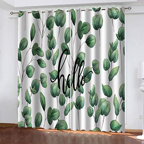 cortinas habitacion verdes plantas