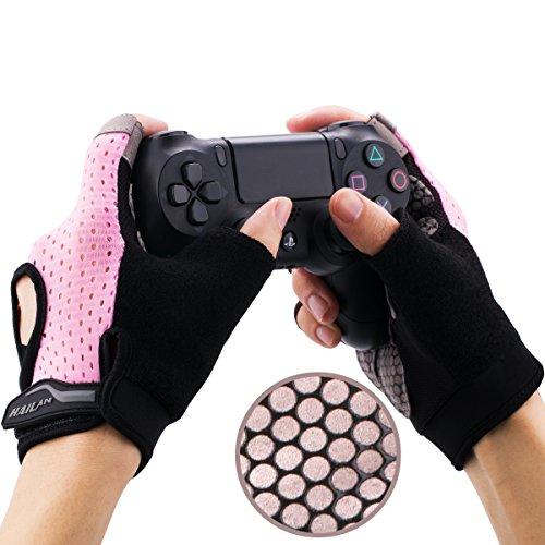YoRHa Gaming Gants poignée en Silicone antidérapant Anti-Transpiration Stomate Respirant Conception Parfait Confortable. Parfait pour Tenir PS4,Xbox One,Switch et Tout Autre Manette(Rose) L 4-4.3