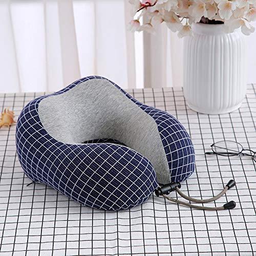 1 almohada de espuma viscoelástica en forma de U para el cuello, almohada portátil en forma de U, almohada de rebote para viajes, ropa de cama de salud (color azul marino)