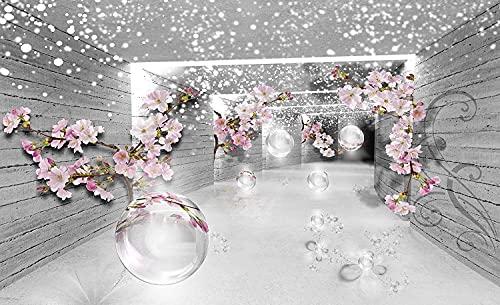 Forwall Fototapete 3D Effekt Magischer Tunnel Blumen Holz Moderne Wohnzimmer Schlafzimmer Vlies Tapete Wandtapete UV-Beständig Hohe Auflösung Montagefertig (3360, V8 (368x254 cm) 4 Bahnen)