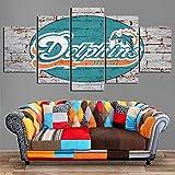 SFXYJ 5 Panel Leinwanddruck Wandkunst Miami Dolphins Malerei Wohnkultur Poster Bild Für Wohnzimmer,A,20×30×2+20×40x2+20x50×1