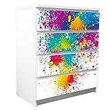 banjado Möbelfolie passend für IKEA Malm Kommode 4 Schubladen | Möbel-Sticker selbstklebend | Aufkleber Tattoo perfekt für Wohnzimmer und Kinderzimmer | Klebefolie Motiv Farbspritzer
