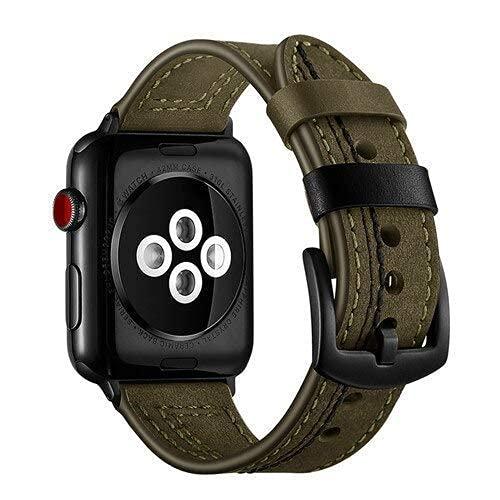 RVTYR Correa asequible para reloj 4, 3, 2, 42, cuero, correa de 4 mm, 38 mm, 40 mm, correas de repuesto para iwatch Series 4 mm (color verde, tamaño: 42 mm o 44 mm)