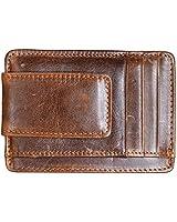 Hopsooken Money Clip RFID Front Pocket Wallet Men Leather Slim Minimalist Wallet (Brown with ID Window (Crazy Hourse Leather))