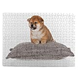 huagu Puzzle 500 Piezas-Rompecabezas Adultos-Adorable Cachorro Shiba inu acostado-Juegos Educativos-Entretenimiento,Niños y Adolescentes,Divertido Regalo