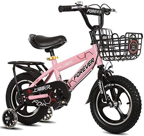 Bicicleta infantil de 30,5 cm 14 pulgadas 16 pulgadas 2-8 años OldBoy Niña Bicicleta Blanco Rosa Azul-Rosa_14 pulgadas