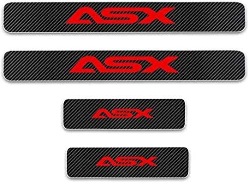 Anti-Kratz-Platte für Autoschwelle für Passend für 4 Stück Externes Carbon-Faser-Leder-Auto Kick-Platten Pedal for Mitsubishi ASX, Einstieg Willkommen Pedal-Tritt Scuff Threshold Bar Prot.