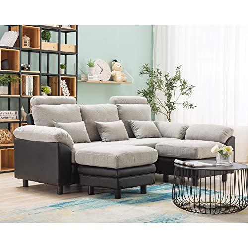 Canapé d'angle 4 places Beige Tissu Moderne