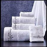 SENFEISM Toallas de baño Nuevas Toallas de baño de algodón Bordado Blanco Star Hotel Juegos de Toallas de baño de Lujo Toalla de Mano Suave