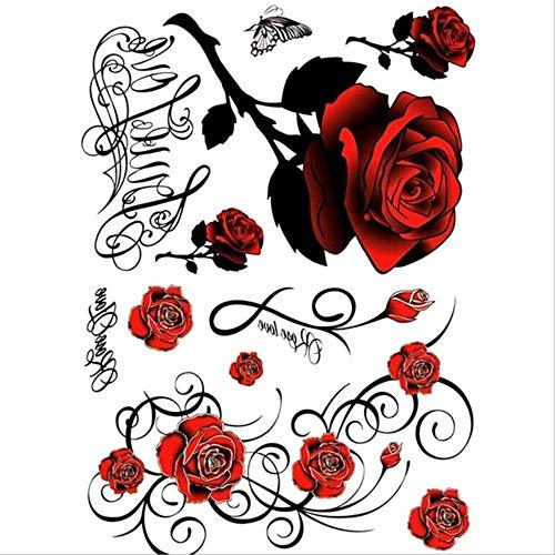 WINTER Pegatinas tatuaje Sexy rosa roja tatuaje floral arte corporal impermeable temporal sexy muslo espalda tatuaje pegatina tatuaje femenino tatuaje falso Rosa