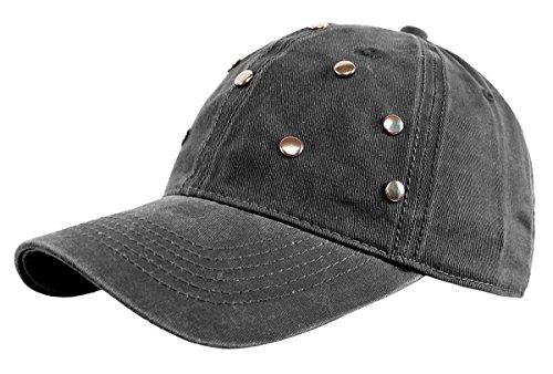 dy_mode Damen Basecap Baseball Cap Mütze Kappe mit Glitzer Nieten - K002-K011 (K011-DunkelGrau)