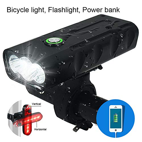 3 LED 1000 Lumen Bicycle Headlight USB Rechargeable Built in Battery Bike Light with Charging Function  Free LED Taillight Waterproof Accessories Aluminum Alloy Cycling Light Safety Flashlight