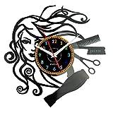 EVEVO peluqueria Reloj De Pared Vintage Accesorios De Decoración del Hogar Diseño Moderno Reloj De Vinilo Colgante Reloj De Pared Reloj Único 12