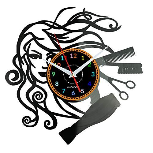 """EVEVO peluqueria Reloj De Pared Vintage Accesorios De Decoración del Hogar Diseño Moderno Reloj De Vinilo Colgante Reloj De Pared Reloj Único 12"""" Idea de Regalo Creativo Vinilo Pared Reloj peluqueria"""