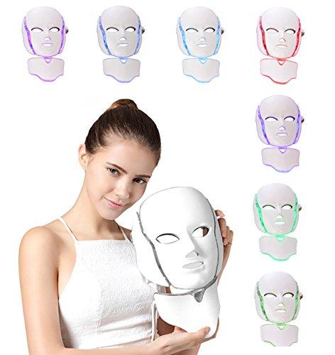 NBD 7 Color LED máscara Light Therapy LED máscara Photon con cuello, Beaut Facial el cuidado de rajeunissement de la piel fototerapia Tratamiento máscara