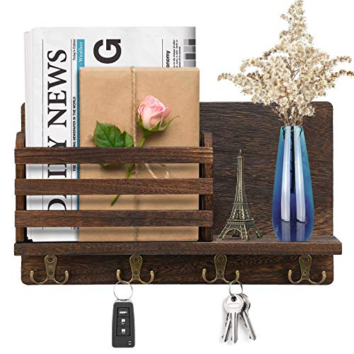 Wall Mounted Mail Holder,Wooden Mail Organizer with 4 Double Key Hooks and Floating Shelf,Wall Key Shelf Rack,Decorative Mail Sorter Organizer & Key Holder,Rustic Key Hangers for Entryway and Hallway