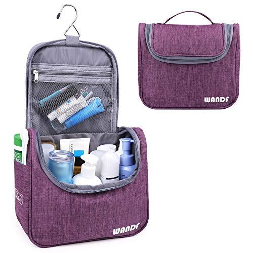 Hanging Toiletry Bag Travel Cosmetic Organizer Shower Bathroom Bag for Men Women Water-resistant (Light Purple)